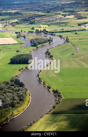 The Netherlands, Rheden, Ijssel river. Aerial. - Stock Photo