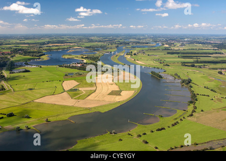 The Netherlands, Maurik, Rhine river. Aerial. - Stock Photo