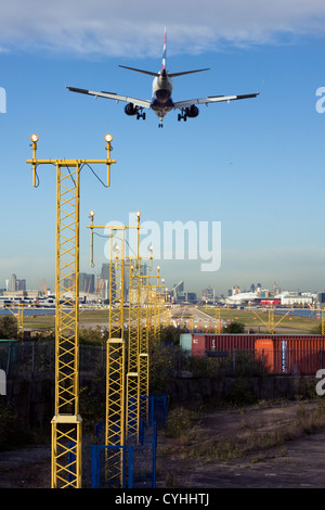 British Airways regional airliner landing at London City Airport, England, UK - Stock Photo