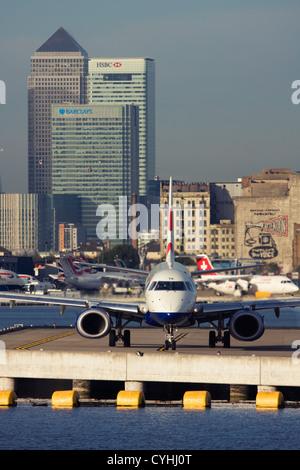 Regional airliner British Airways (BA CityFlyer) Embraer ERJ-190-100LR 190LR at London City Airport, England, UK - Stock Photo