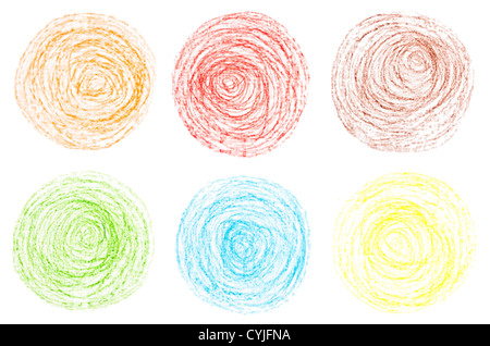 painted on paper crayon circles - Stock Photo