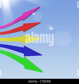 Multicolored Group Of Arrows In The Sky Show Teamwork - Stock Photo
