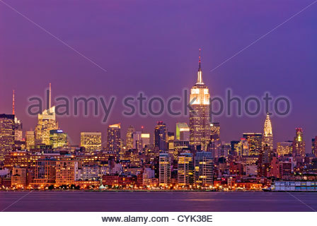 Manhattan Skyline with the Bank of America Building, Empire State Building and the Chrysler Building, New York City. - Stock Photo