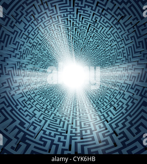 Solution from confusion with a three dimensional maze or labyrinth in perspective and a shinning white freedom hole - Stock Photo