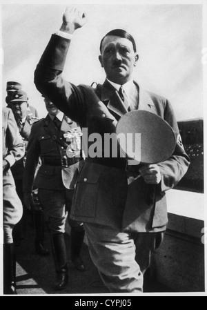 Adolf Hitler at Zeppelin Field During the Reichsparteitag, Nuremberg, Germany, 1935 - Stock Photo