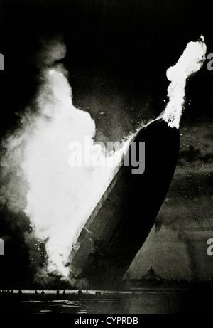 German Airship, Hindenburg, Burning at Lakehurst, New Jersey, USA, May 6, 1937 - Stock Photo