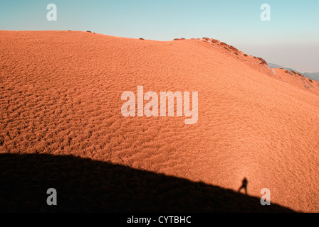 A man's shadow on the yellow grassland in high mountain. - Stock Photo