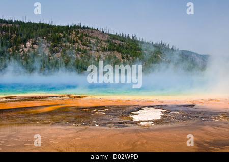Grand Prismatic spring - Midway Geyser Basin, Yellowstone national Park - Wyoming, USA - Stock Photo