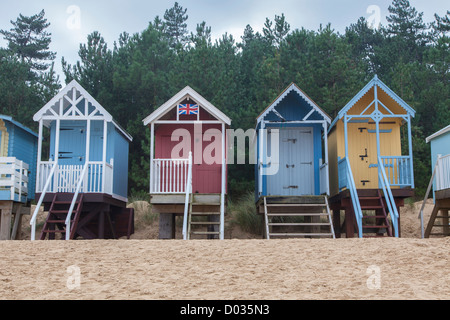 Colourful beach huts, Wells-next-the-Sea, North Norfolk, UK - Stock Photo