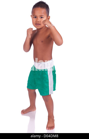 asian boy children before a fight - Stock Photo