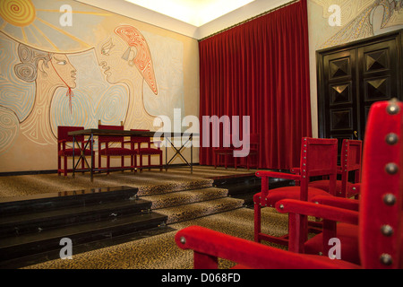 wall painting by jean cocteau in mariage hall la salle des stock photo 123235821 alamy. Black Bedroom Furniture Sets. Home Design Ideas