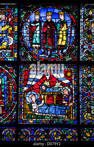 Chartres cathedral stained glass mary