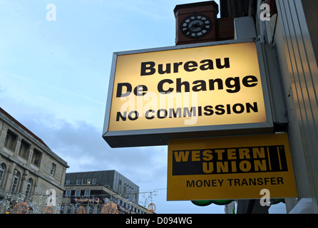 bureau de change 0 commission money exchange sign in prague czech stock photo royalty free. Black Bedroom Furniture Sets. Home Design Ideas