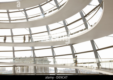 Reichstag Dome interior, Berlin modern architecture by Norman Foster - Stock Photo