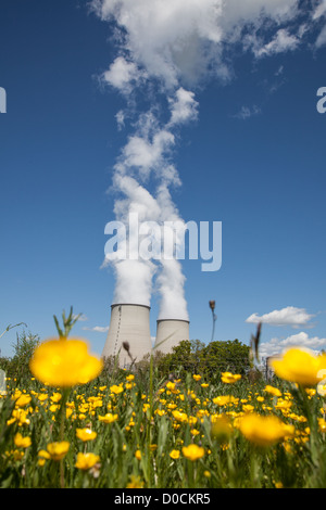 Cooling tower of a nuclear plant near the river stock for Belleville sur loire piscine