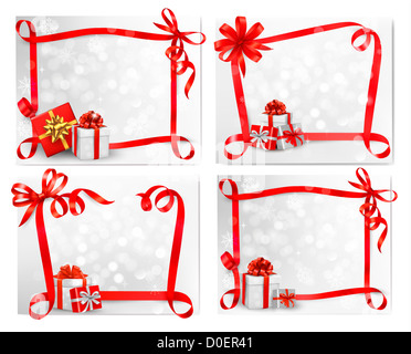 Set of holiday backgrounds with red gift bow with gift boxes. - Stockfoto