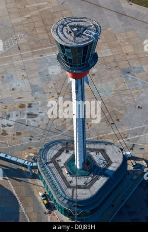 Aerial view of the Control Tower at London Heathrow Airport. - Stock Photo