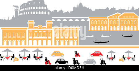 Montage landmarks in a city, Rome, Italy - Stock Photo