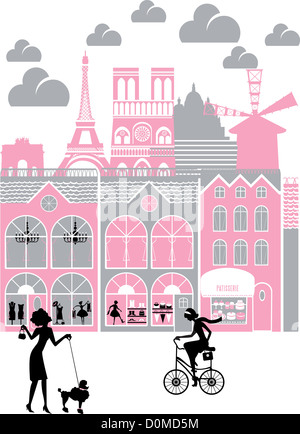 City with montage of landmarks, Eiffel Tower, Paris, France - Stock Photo