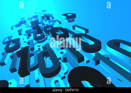 3d illustration of binary numbers flowing from or to the glowing source or destination. - Stock Photo
