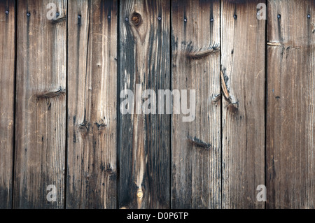 texture of old wood planks with nails - Stockfoto