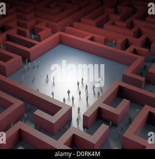 Tiny people in a maze - Stock Photo