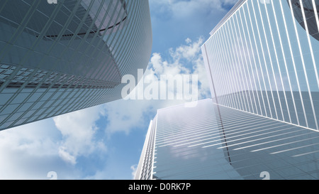 View at highrise office buildings - Stock Photo