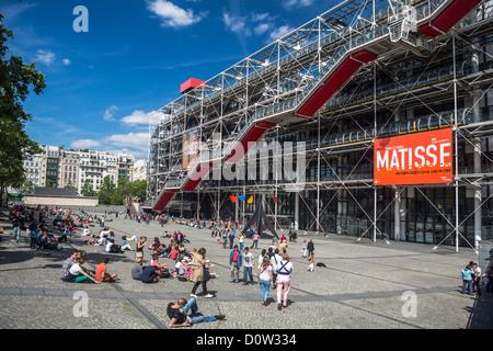 France, Europe, travel, Paris, City, Pompidou, Center, centre, architecture, art, building, escalator, leisure, - Stock Photo