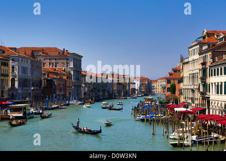 Italy, Europe, travel, Venice, Canal Grande, boats, gondola, tourism, Unesco, - Stock Photo