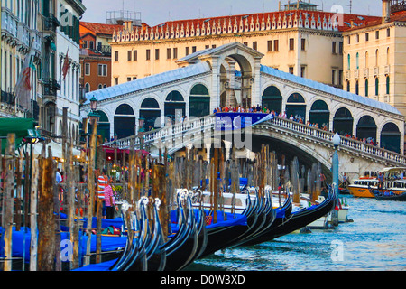 Italy, Europe, travel, Venice, Rialto, Bridge, architecture, boats, canal, colours, gondolas, Canal Grande, tourism, - Stock Photo