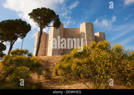 The medieval castle Castel del Monte (Castle of the Mount)  Apulia, Italy - Stock Photo