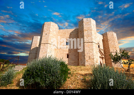 The Medieval Castel del Monte ( Castle of the Mount )  Apulia, Italy. A World Heritage Site - Stock Photo
