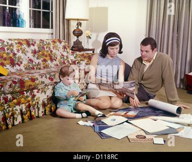 1970s Family Mom Dad Girl Pet Dog Having Picnic In