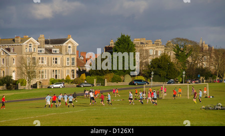 Football games, University and school sport, The Downs, Bristol, England, UK - Stock Photo