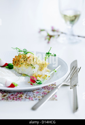 Plate of crusted fish - Stock Photo