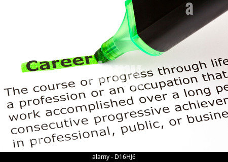 Definition of the word Career highlighted in green with felt tip pen - Stock Photo