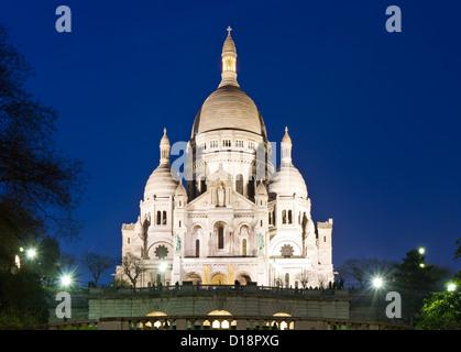 Sacre Coeur during twilight, Paris, France - Stock Photo