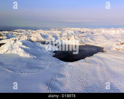 Global warming effecting Columbia Glacier in Alaska an aerial photo - Stock Photo