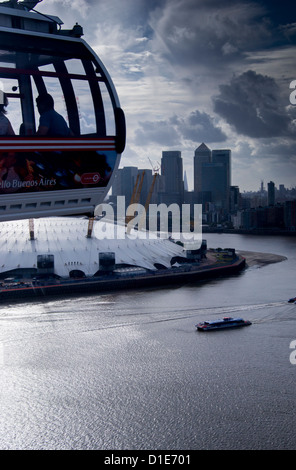 View over O2 Arena with Canary Wharf in background, London, England, United Kingdom, Europe - Stock Photo