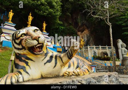 Tiger statue, Tiger Cave Temple (Wat Tham Suea), Krabi Province, Thailand, Southeast Asia, Asia - Stock Photo