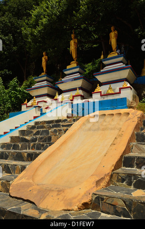 Buddha footprint, Tiger Cave Temple (Wat Tham Suea), Krabi Province, Thailand, Southeast Asia, Asia - Stock Photo