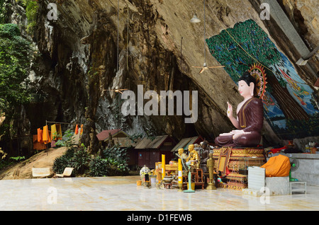 Buddha statue, Tiger Cave Temple (Wat Tham Suea), Krabi Province, Thailand, Southeast Asia, Asia - Stock Photo