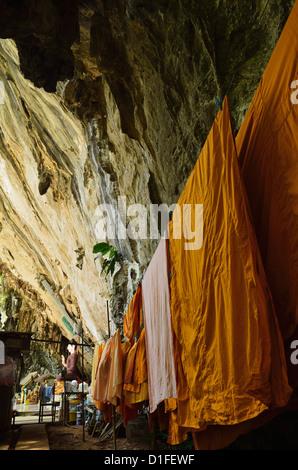 Monks' robes, Tiger Cave Temple (Wat Tham Suea), Krabi Province, Thailand, Southeast Asia, Asia - Stock Photo