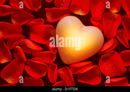 A glowing heart in amongst wet red rose petals floating on water. - Stock Photo