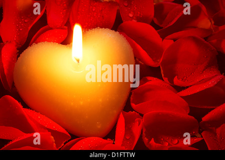 A heart shape candle surrounded by red rose petals covered in water droplets - Stock Photo