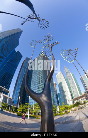 Skyscrapers of the Financial Centre and modern sculptures, Singapore, Southeast Asia, Asia - Stock Photo