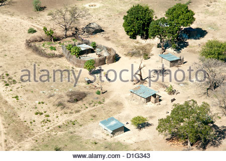 Aerial view of local village, Impalila Island at the confluence of Zambezi and Chobe Rivers, eastern Caprivi Strip, - Stock Photo