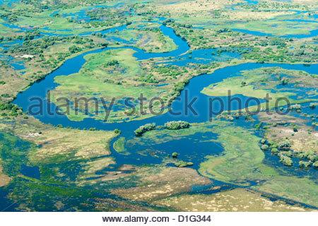 Aerial view of floodplains and islands along Zambezi and Chobe rivers confluence, eastern Caprivi Strip, Namibia - Stock Photo
