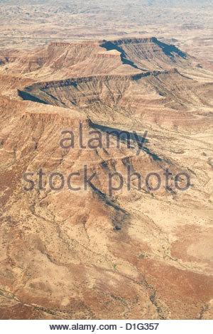 Mountain plateaux, aerial view Damaraland, Kaokoland Wilderness, Namibia, Africa - Stock Photo