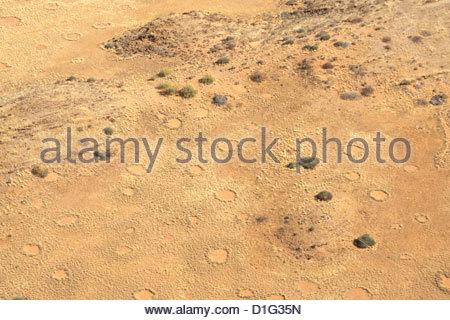 Fairie circles, aerial view of Damaraland, Kaokoland wilderness in NW region, Namibia, Africa - Stock Photo